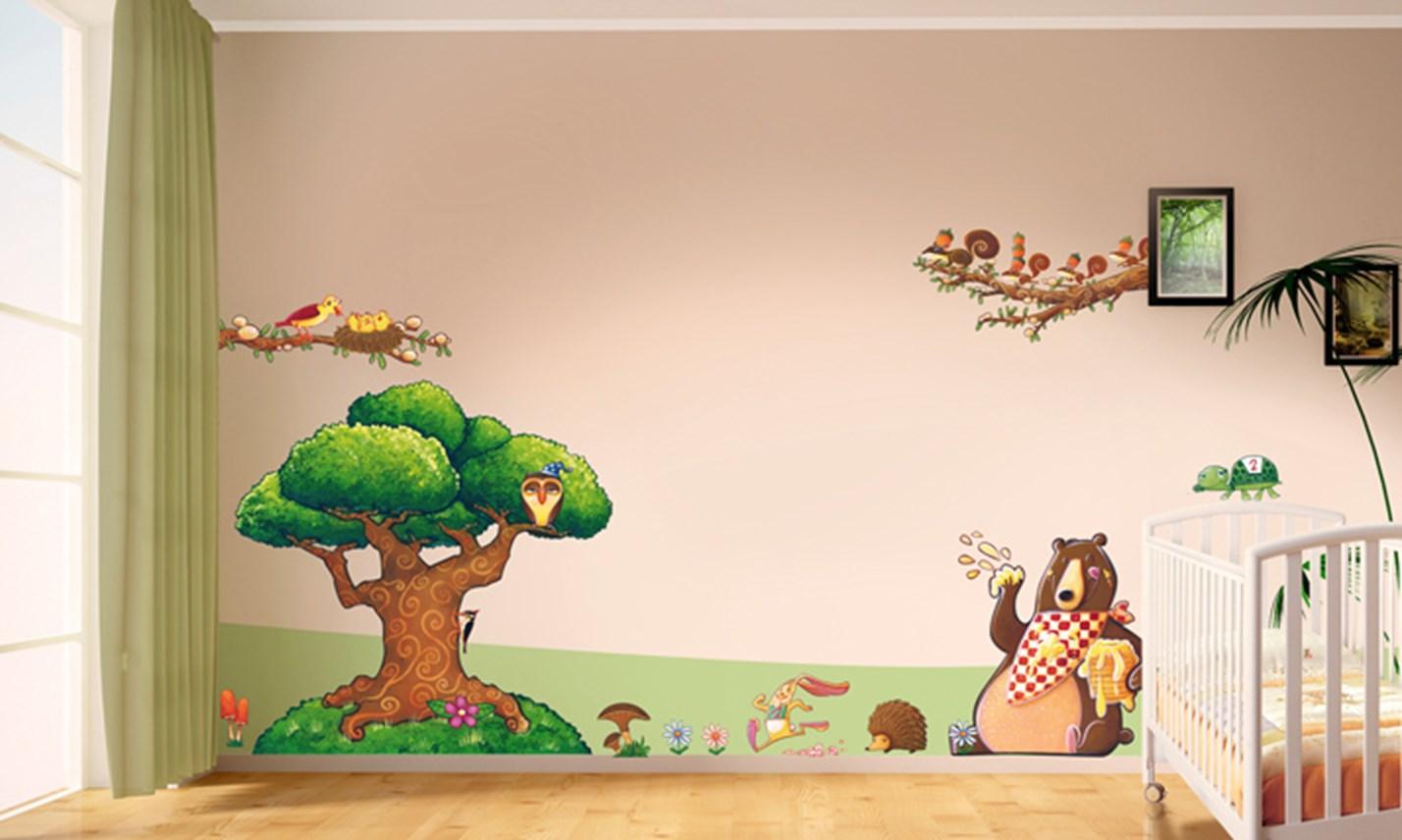 Stickers murali bambini cameretta nel bosco leostickers - Stickers per camerette bambini ...